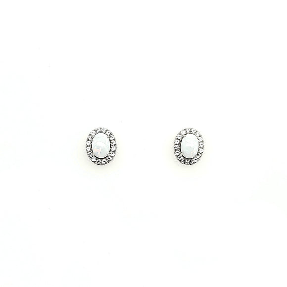 Opal & White Sapphire Earrings