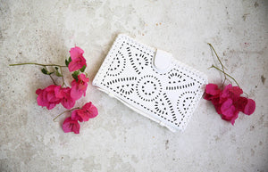 white cleobella leather Mexicana clutch
