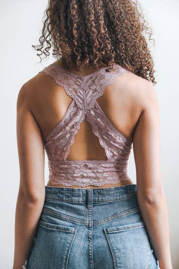 Cross Back Lace Bralette