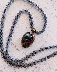 love heals skull carved labradorite necklace