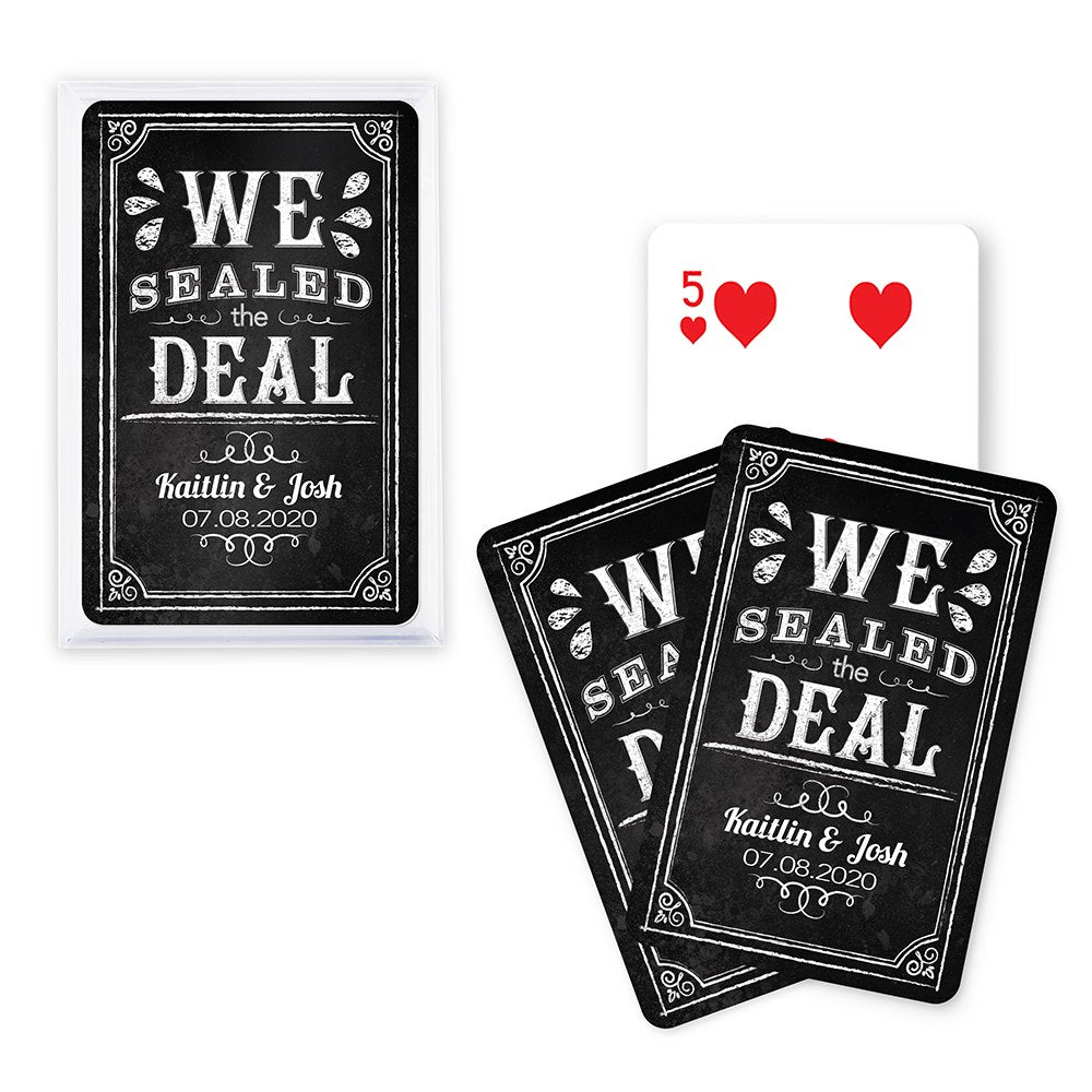 Playing Card Favors - We Sealed The Deal Chalkboard