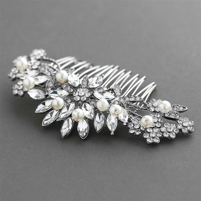 Pearl, Crystal & Lucite Sunburst Wedding or Prom Comb