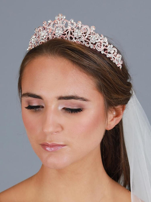 Vintage Bridal, Wedding or Prom Rose Gold Tiara with Clear Crystals