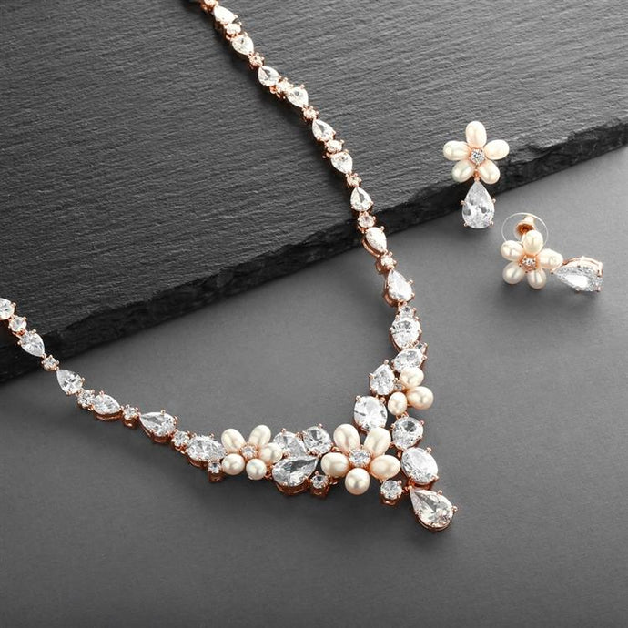 Rose Gold Freshwater Pearl & CZ Statement Necklace & Earrings Set