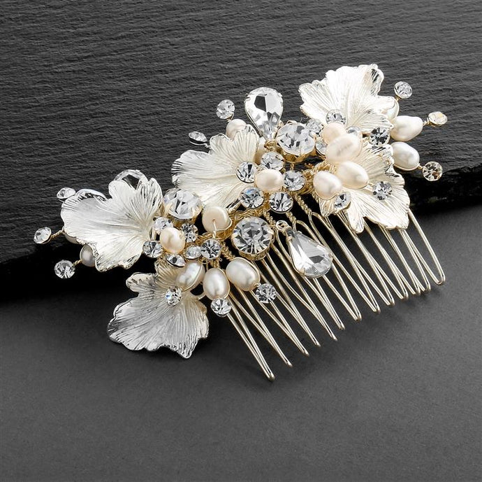 Couture Bridal Hair Comb with Hand Painted Gold Leaves, Freshwater Pearls and Crystals