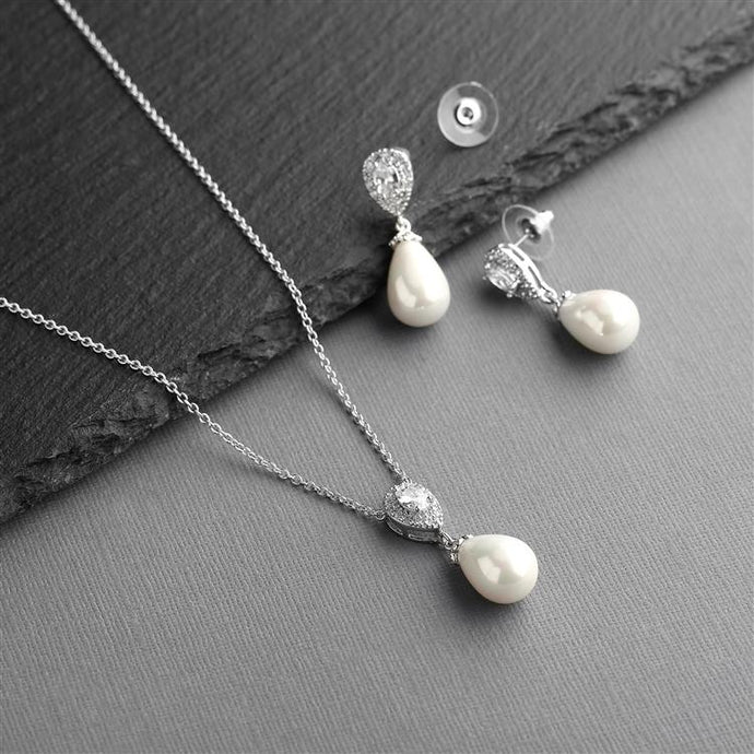 Cubic Zirconia and Ivory Teardrop Pearl Wedding Jewelry Set