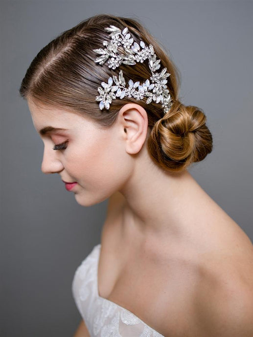 Couture Wedding Headpiece with White Opals and Clear Crystals