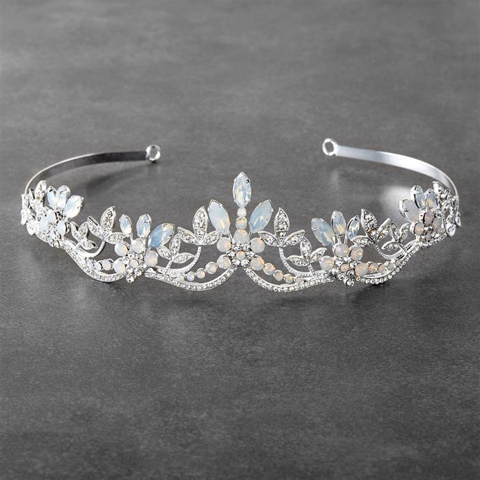 Opal and Crystal Silver Bridal Tiara Wedding Crown with Wavy Motif
