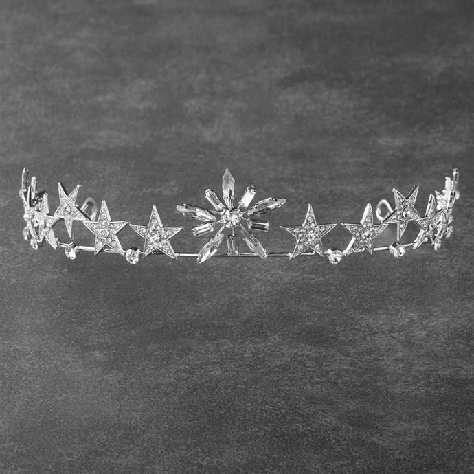 Celestial Wedding Bridal Stars Tiara with Pave Crystals