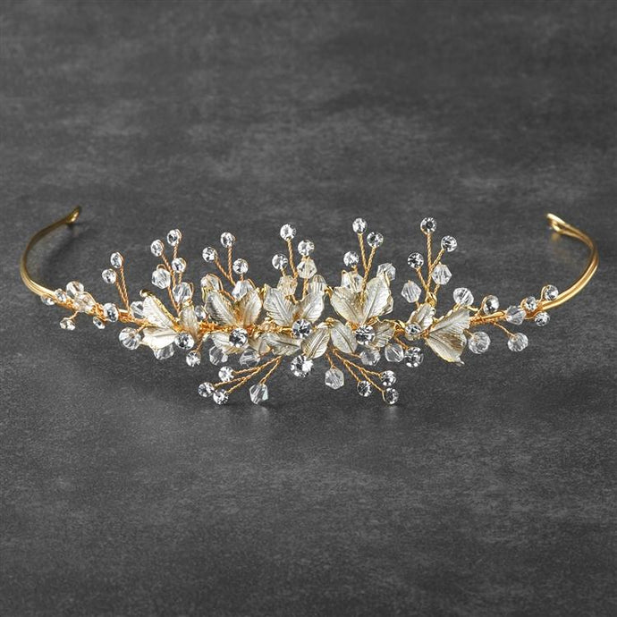 Bridal Tiara with Crystals and Hand Painted Matte Silvery Gold Leaves