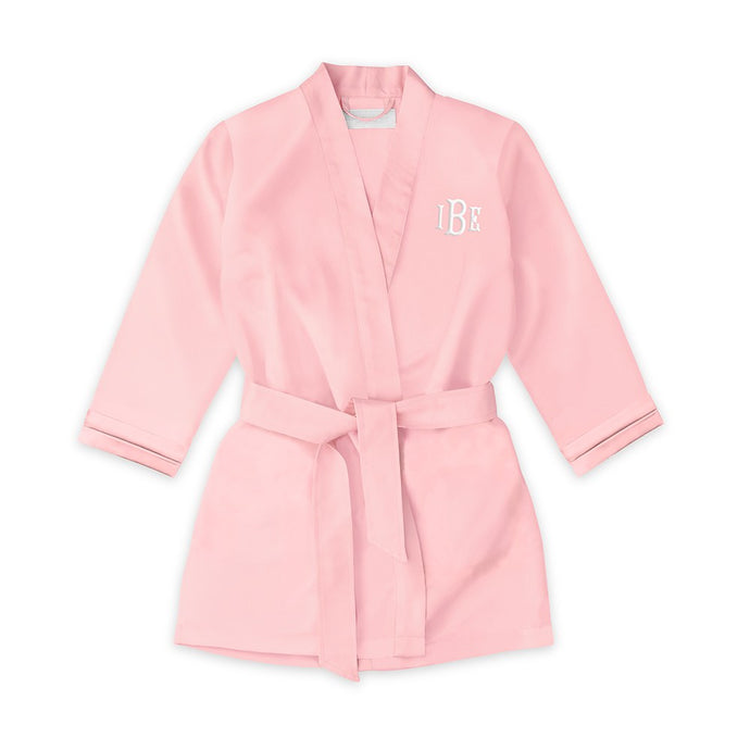 Personalized Flower Girl Satin Robe With Pockets - Light Pink