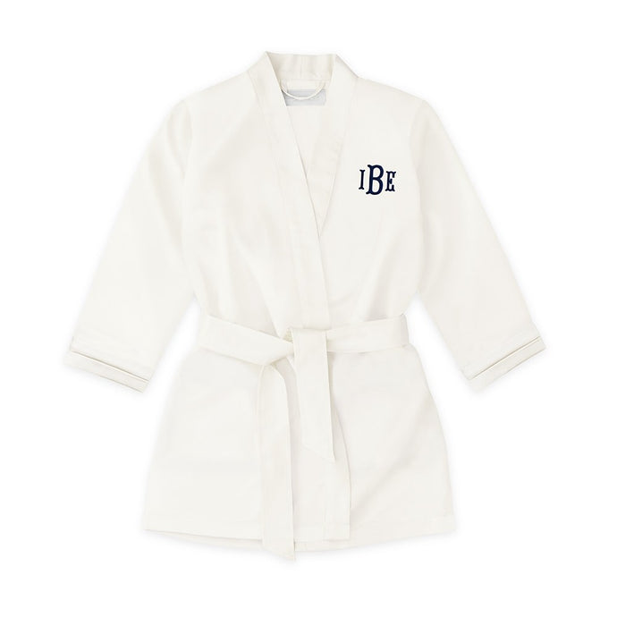 Personalized Flower Girl Satin Robe With Pockets - White