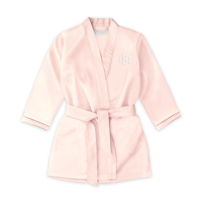 Personalized Flower Girl Satin Robe with Pockets - Blush Pink