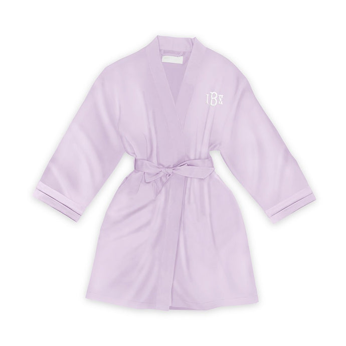 Personalized Junior Bridesmaid Satin Robe With Pockets -Lavender/Light Purple