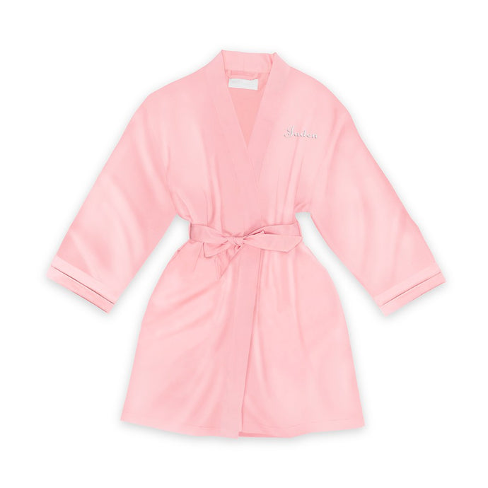 Personalized Junior Bridesmaid Satin Robe With Pockets -Light Pink