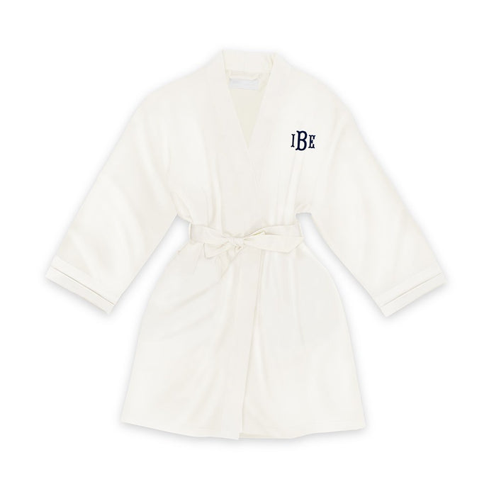 Personalized Junior Bridesmaid Satin Robe With Pockets -White