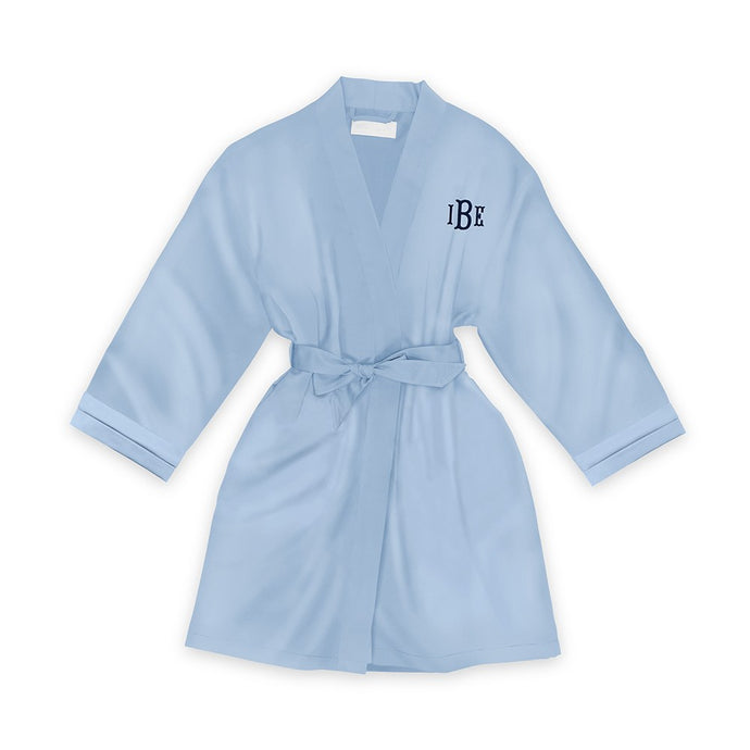 Personalized Junior Bridesmaid Satin Robe With Pockets -Light Blue