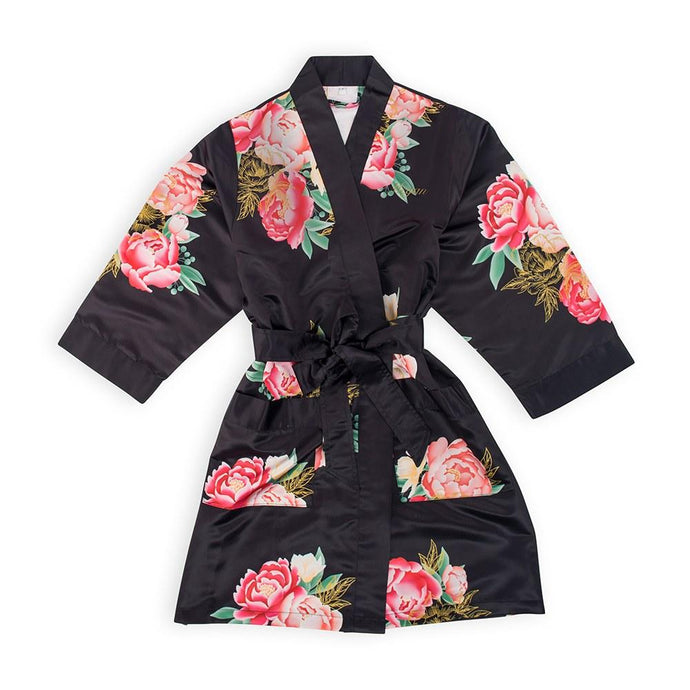 Personalized Junior Bridesmaid Satin Robe With Pockets - Black Floral