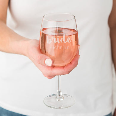 Large Personalized Wine Glass - Bride