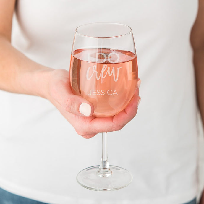 Large Personalized Wine Glass - I Do Crew