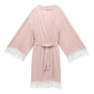 Women's Personalized Jersey Knit Robe With Lace Trim