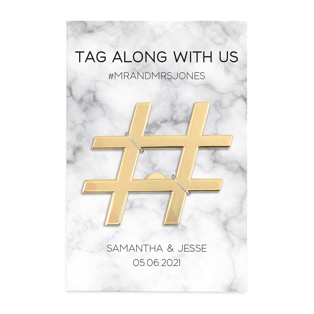 Gold Hashtag Bottle Opener Wedding Favor - Tag Along With Us