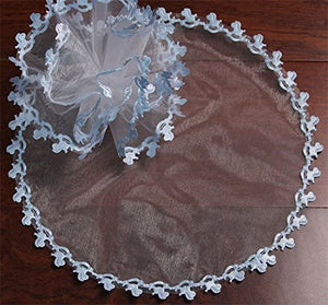 Shiny Light Blue Tulle Circles with Rocking Horse Edges - Pack of 25