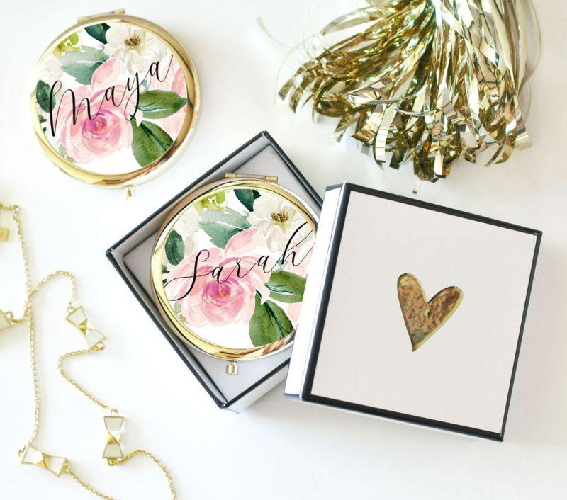 Personalized Spring Rose Compact