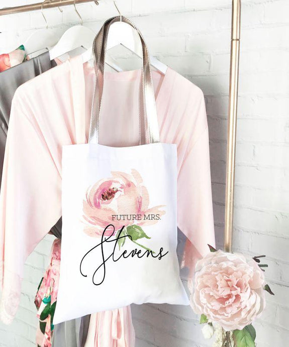 Personalized Spring Rose Tote