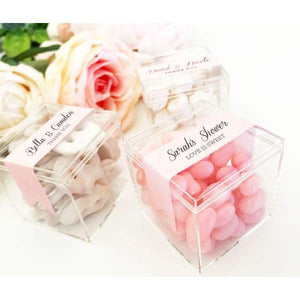 Acrylic Favor Boxes - Colored Label - Acrylic Box