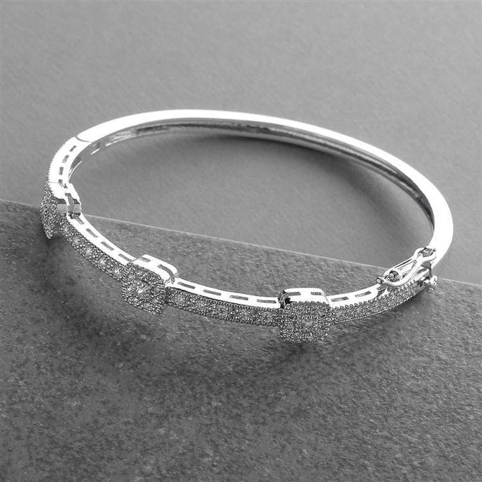 Vintage Cubic Zirconia Delicate Wedding Bangle