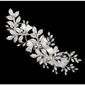 Flower and brushed leaf style Bridal Hair Clip - Bridal head Band