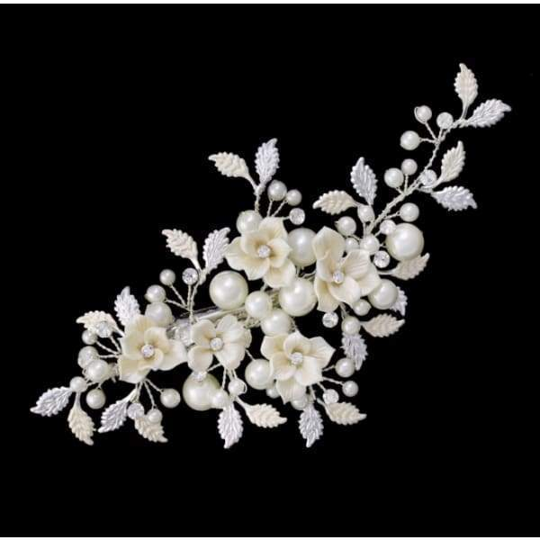 Flower and leaf style Bridal Hair Clip avail in in 2 colors - Bridal head Band