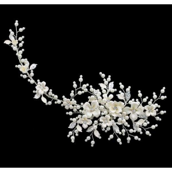 Stunning Flower and leaf style Bridal extended Hair Clip - Bridal head Band
