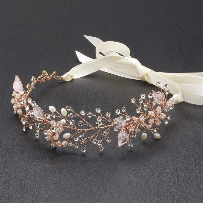 Bridal Headband with Hand Painted Rose Gold and Silver Leaves
