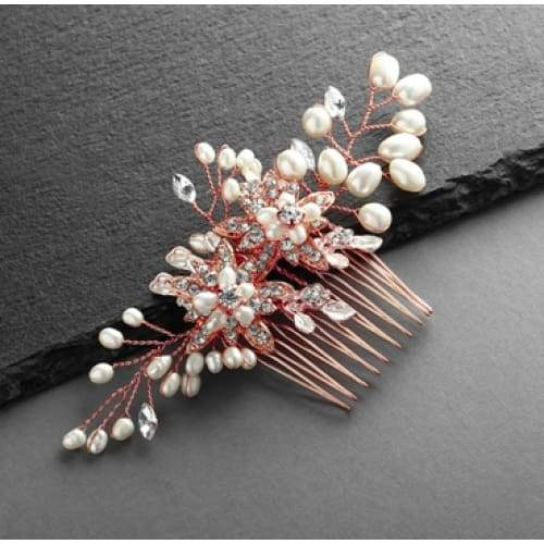 Rose Gold Freshwater Pearl Wedding Hair Comb with Crystal Leaves - Comb