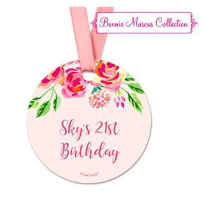 Pink Flowers Birthday Favor Gift Tags (20 Pack) - Hang Tags
