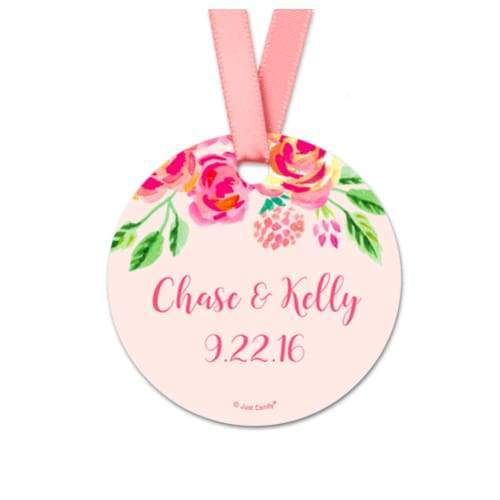Pink Flowers Wedding Favor Gift Tags (20 Pack) - Hang Tags