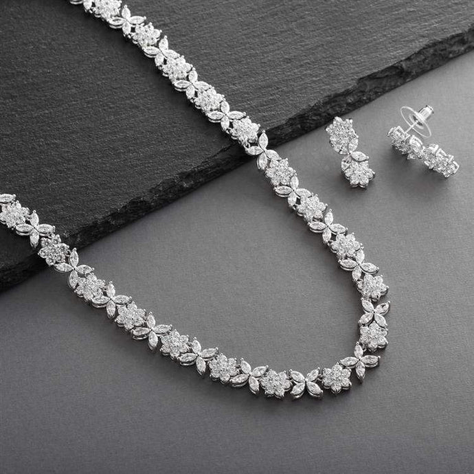 CZ Bridal Necklace with CZ Marquis Flowers
