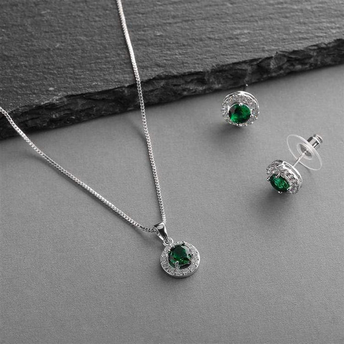 Gleaming Cubic Zirconia Round Shape Halo Necklace and Stud Earrings Set -Emerald