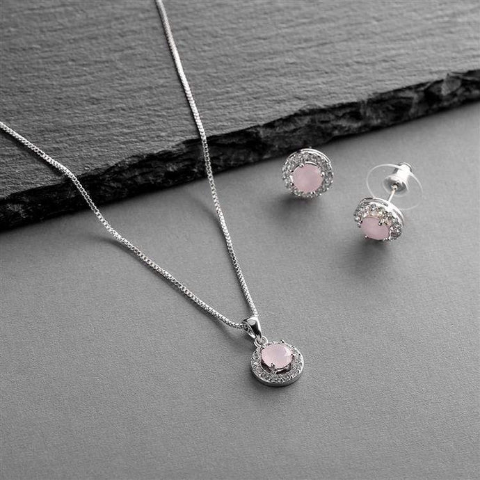 Gleaming Cubic Zirconia Round Shape Halo Necklace and Stud Earrings Set -Pink Opal