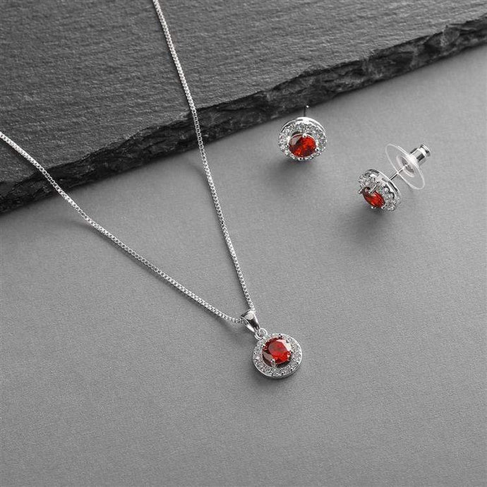 Gleaming Cubic Zirconia Round Shape Halo Necklace and Stud Earrings Set -Ruby