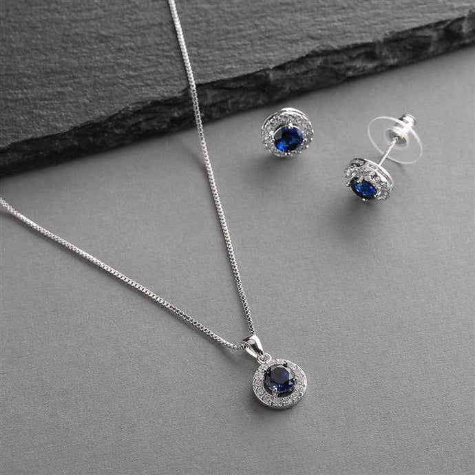 Gleaming Cubic Zirconia Round Shape Halo Necklace and Stud Earrings Set -Sapphire