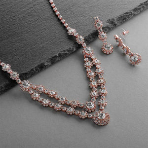 Regal Rose Gold Two Row Rhinestone Neck Set