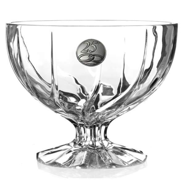 RCR TRIX 25th ANNIVERSARY CRYSTAL BOWL WITH PEDESTAL - 25th Anniversary Bowl