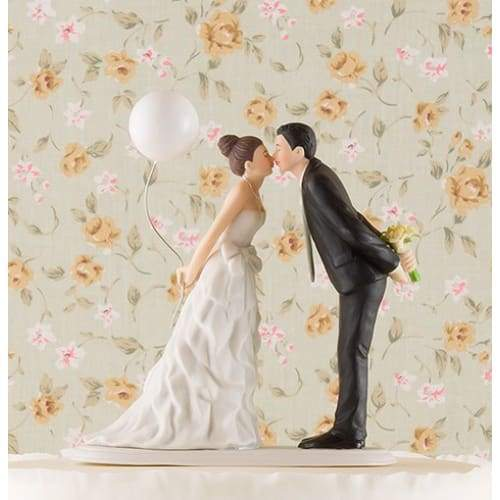 Leaning In For A Kiss - Balloon Wedding Cake Topper - Cake Topper