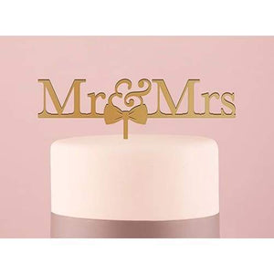 Mr & Mrs Bow Tie Acrylic Cake Topper - Cake Topper