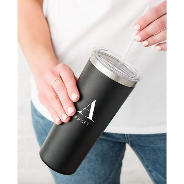 Personalized Black Stainless Steel Drink Tumbler - Modern Serif Monogram Print - stainless steel travel cup