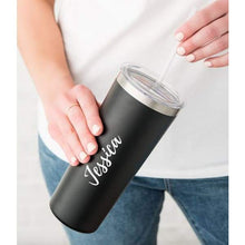 Load image into Gallery viewer, Personalized Black Stainless Steel Drink Tumbler - Calligraphy Print - Stainless steel Tumbler
