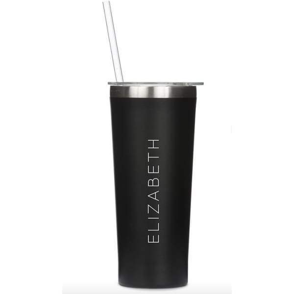 Personalized Black Stainless Steel Drink Tumbler - Contemprary Vertical Print - Stainless Steel Water Bottle